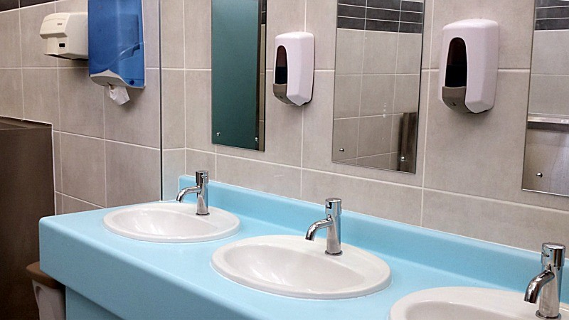 New toilets in Lucan Community College, County Dublin - refurbishment by Tilbury Construction, Dublin, Ireland